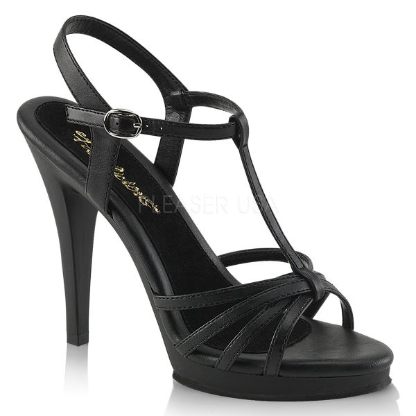 Riemchen Sandalette mit Plateau schwarz Kunstleder Flair-420